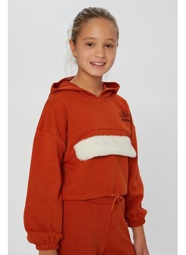 Little Star Little Star Kız Çocuk Peluş Kapaklı Sweatshirt Kiremit
